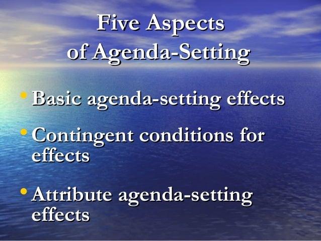 Five AspectsFive Aspects of Agenda-Settingof Agenda-Setting • Basic agenda-setting effectsBasic agenda-setting effects • C...