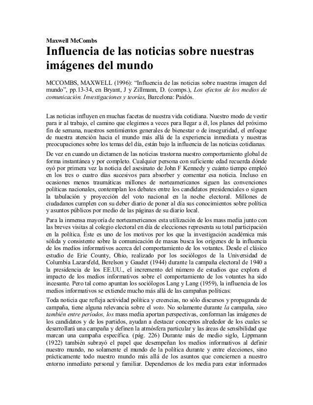 """Maxwell McCombsInfluencia de las noticias sobre nuestrasimágenes del mundoMCCOMBS, MAXWELL (1996): """"Influencia de las noti..."""