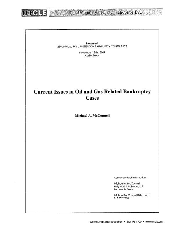 Current Issues in Oil and Gas Related Bankruptcy Cases