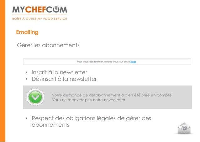 EmailingGérer les abonnements   • Inscrit à la newsletter   • Désinscrit à la newsletter             Votre demande de désa...