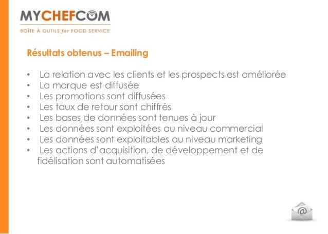 Résultats obtenus – Emailing•    La relation avec les clients et les prospects est améliorée•    La marque est diffusée•  ...
