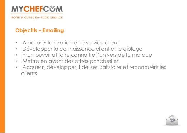 Objectifs – Emailing•   Améliorer la relation et le service client•   Développer la connaissance client et le ciblage•   P...