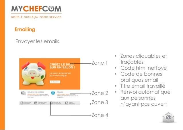 EmailingEnvoyer les emails                              • Zones cliquables et                     Zone 1     traçables    ...