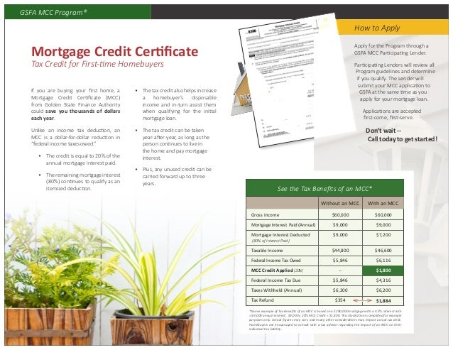Mortgage Credit Certificate Tax Credit Of 20 Every Year