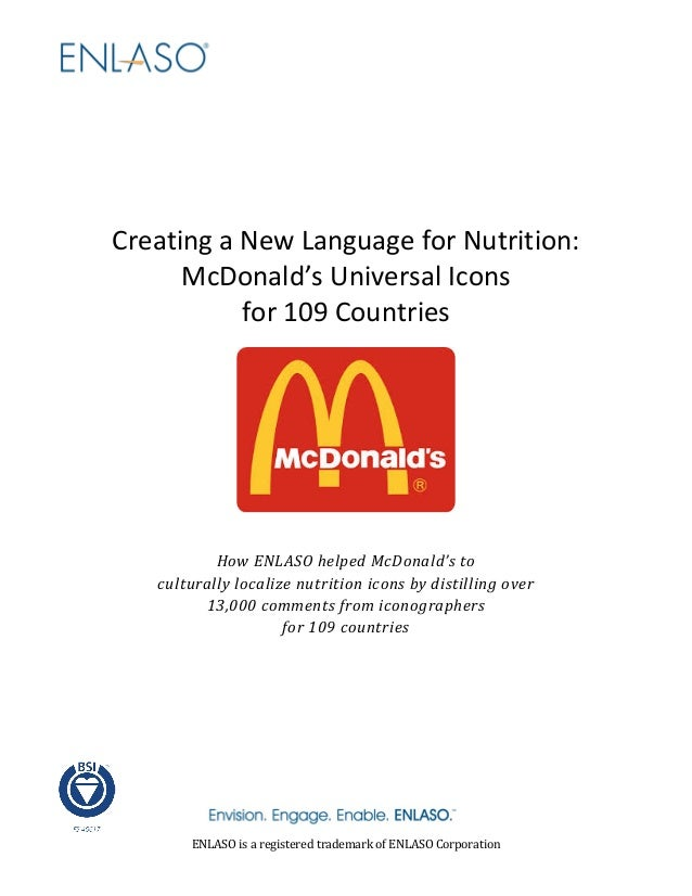 Creating a New Language for Nutrition: McDonald's Universal Icons for 109 Countries How ENLASO helped McDonald's to cultur...