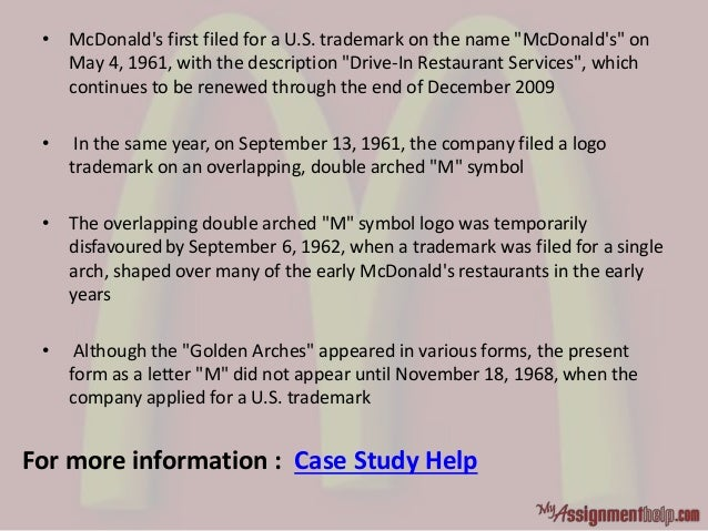 """• McDonald's first filed for a U.S. trademark on the name """"McDonald's"""" on May 4, 1961, with the description """"Drive-In Rest..."""
