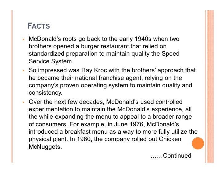 essay on mcdonalds franchise