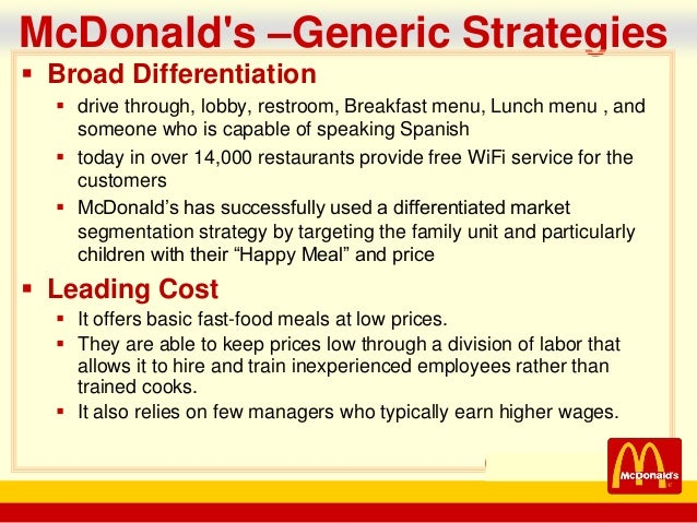 mcdonald cost leadership strategy Cost minimization, differentiation and focus of  apple inc cost leadership strategy cost leadership  cost minimization, differentiation and focus of.