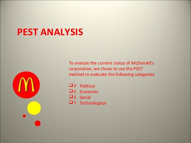 marketing mix and pestle analysis of mcdonalds in india A pestel analysis is a framework or tool used by marketers to analyse and monitor the macro-environmental (external marketing environment) factors that have an impact on an organisation the result of which is used to identify threats and weaknesses which is used in a swot analysis.
