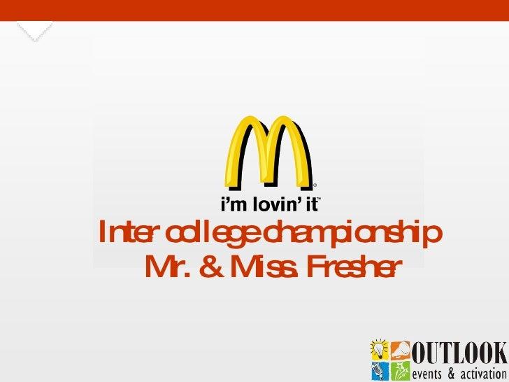 Inter college championship  Mr. & Miss. Fresher