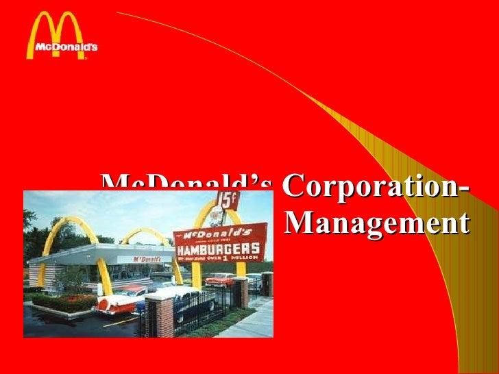 McDonald's Corporation- Operation Management