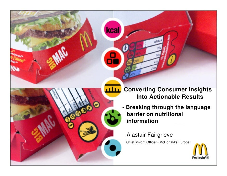 Converting Consumer Insights       Into Actionable Results    - Breaking through the language      barrier on nutritional ...