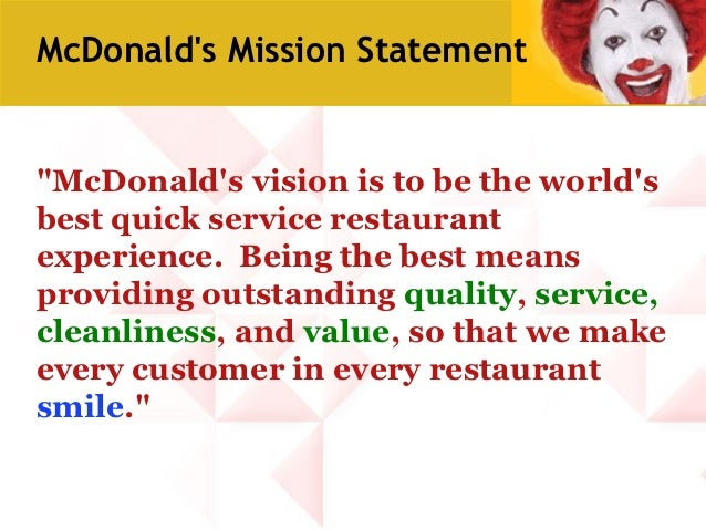 "swot analysis of mcdonalds mission and vision Canon's vision is kyoseikyosei, a japanese idea, means conveying ""dedication to seeing all people, regardless of culture, customs, language or race, harmoniously living and working together in happiness into the future."