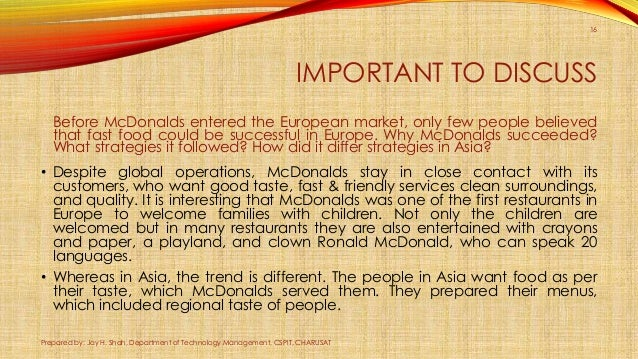 Mcdonalds AND ITS OWN Strategic Management Commerce Essay
