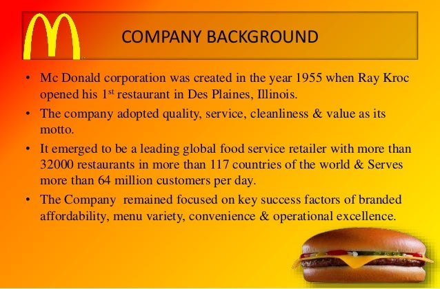 background of mcdonalds global business Our values our business model our growth strategy global diversity,  inclusion & community engagement history leadership around the world.