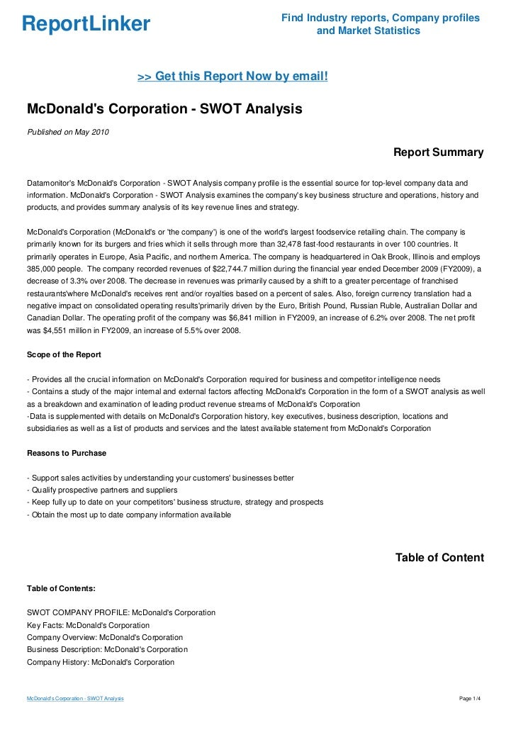 mcdonalds analysis of industry essay The arising competition to achieve growth in this industry the fast-food industry is very complex and saturated  financial analysis of mcdonalds essay 3043 words .
