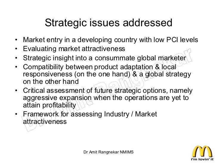 International marketing assignment on : Global Market entry strategies of McDonald's