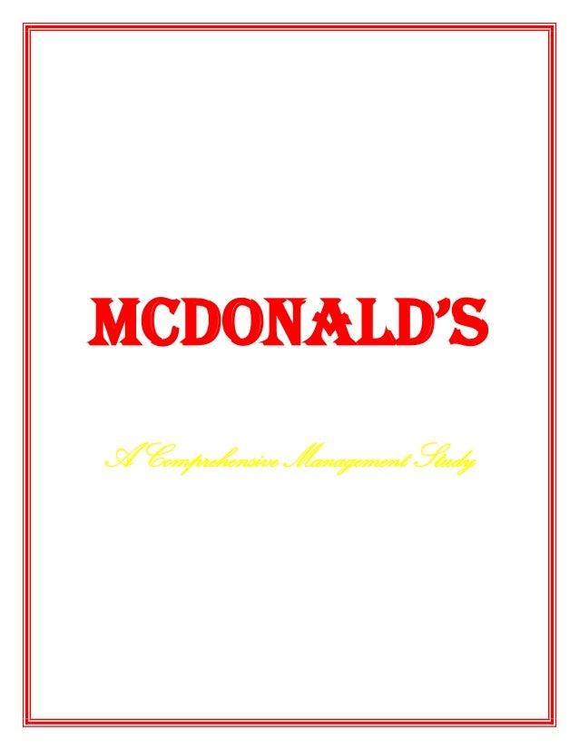 McDonald's A Comprehensive Management Study