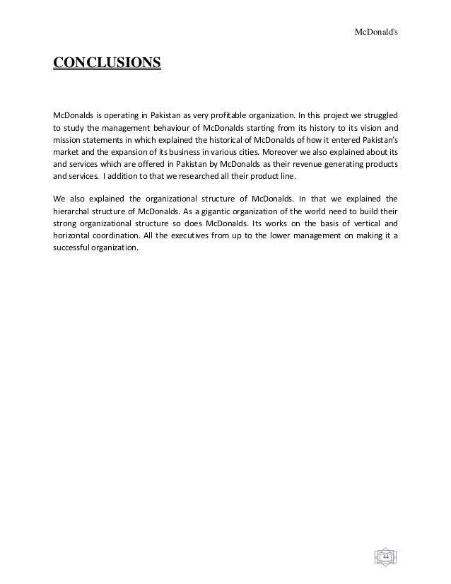 mcdonalds organizational structure