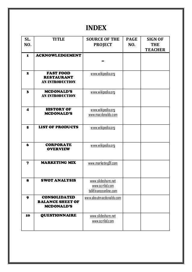 project report and market survey of mcdonald s cbse class 12 entrepr