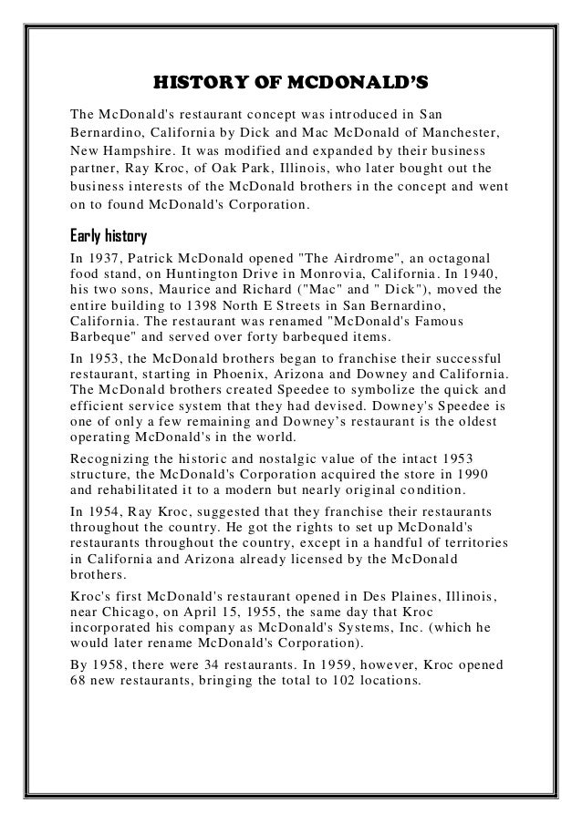 history of mcdonalds essay Advertising essay ad targeting children  one of  is a clown-like advertising mascot designed by mcdonalds corporation to appeal to.