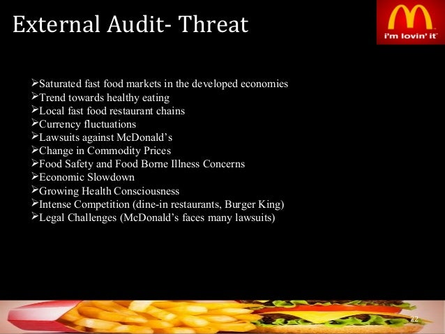 strategic audit of mcdonalds A strategic partnership (also see strategic alliance) is a relationship between two commercial enterprises, usually formalized by one or more business contracts a.