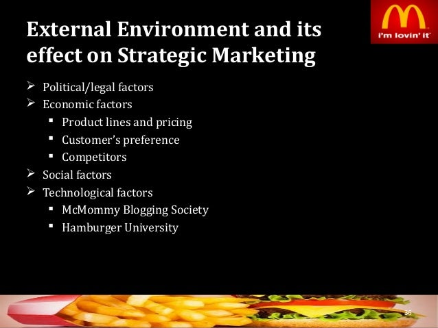 internal and external environment of mcdonald External internal factors paper external/internal factors paper university of phoenix online introduction the mcdonald's corporation is a.