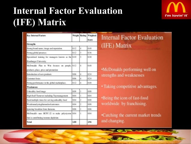 efe and ife matrix hidalgo restaurant External factor evaluation matrix (efe) the efe matrix was used to assess starbucks' current business conditions it helps starbucks to better visualize and prioritize the opportunities and threats to which the business is exposed.