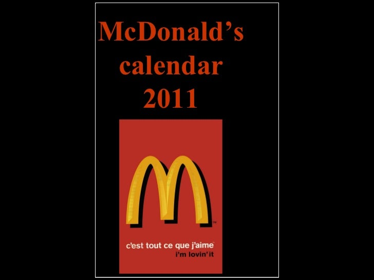 McDonald's calendar 2011