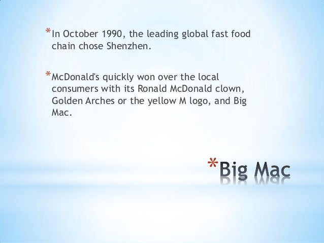 case mcdonald s is china lovin it And, in fact, they were lovin' it i think they have a  that hasn't always been the  case during  this time around, mcdonalds is focusing very well on providing  value their brand  similarly, kfc is huge in china will they.