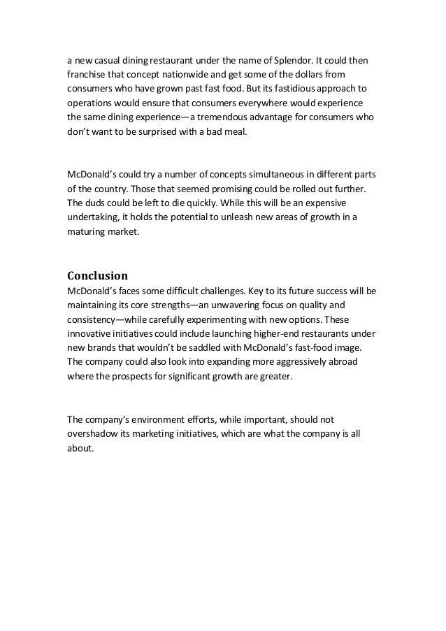 The concept of standardization of mcdonalds company