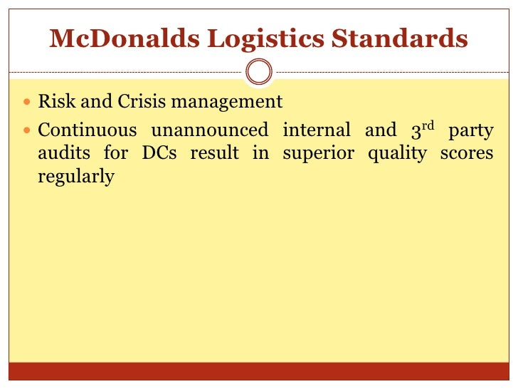 mcdonalds standardisation of products Quality assurance the homely touch of the highest quality standards at mcdonald's  the freshness and high quality are delivered to you in all our products.