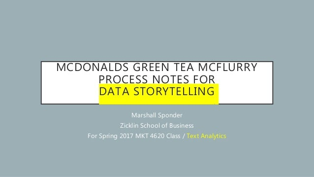 MCDONALDS GREEN TEA MCFLURRY PROCESS NOTES FOR DATA STORYTELLING Marshall Sponder Zicklin School of Business For Spring 20...
