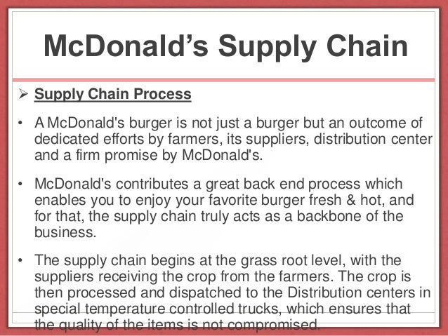 distribution channel of mcdonalds