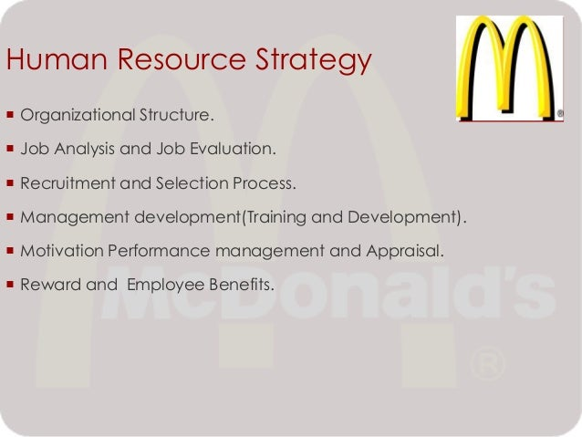 Job analysis at mcdonalds