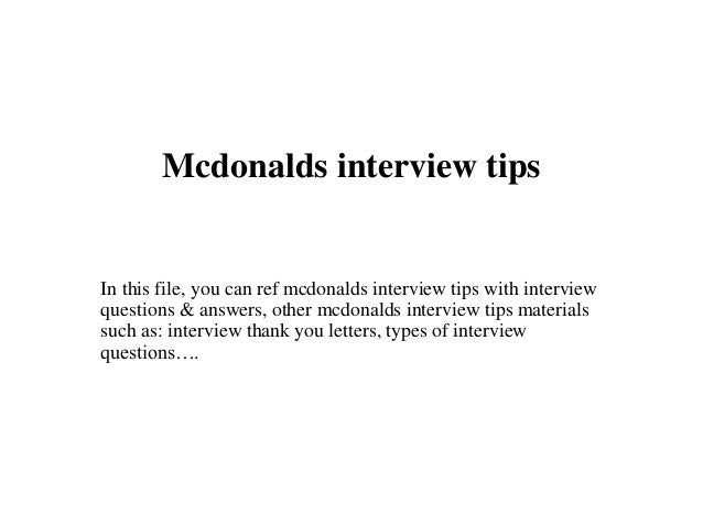 what to wear for interview at mcdonalds