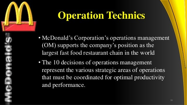 mcdonalds and wendys operations management Operations management & restaurant solutions group - includes the field service team (franchise restaurants), the mcopco team (mcdonald's operating company restaurants), and the operations development, training and measurement teams.