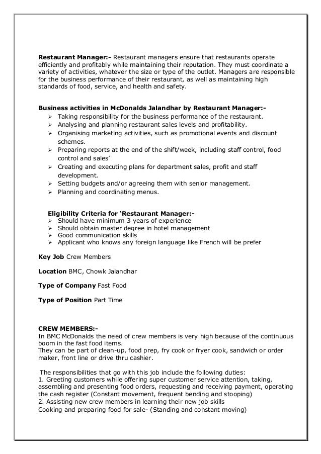 mcdonalds mini projectrecruitment process amp tampd