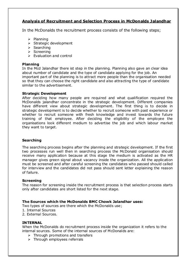 Mcdonalds Mini Projectrecruitment Process Td