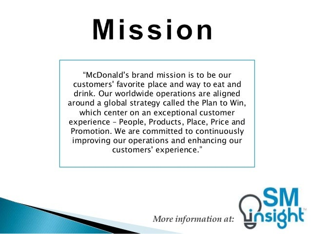 mission and vision of mcdonald company in philippine San miguel pure foods company inc our mission, vision and values our core purpose the board last reviewed and approved the vision and mission of the company.