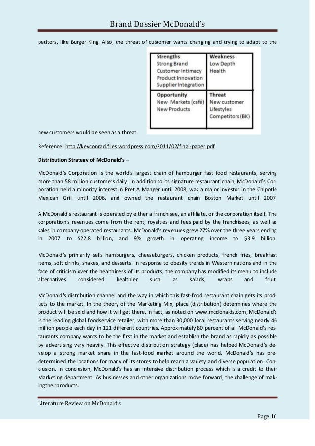 mc donalds customer driven essay However, this paper focuses on the food industry with the  mcdonald's  crowdsourcing campaign 'my burger'  if customers can identify with the contest , they are more motivated to participate (boudreau & lakhani, 2013.