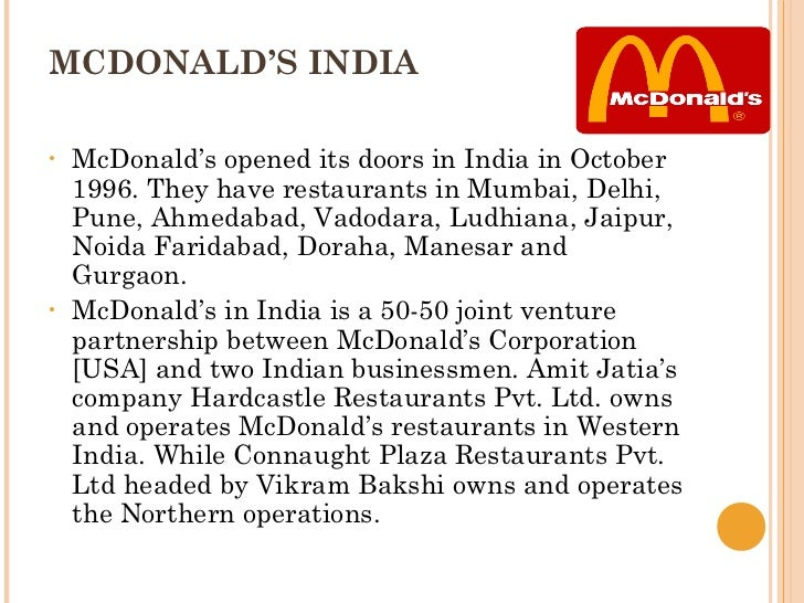 mcdonalds entry strategy in india