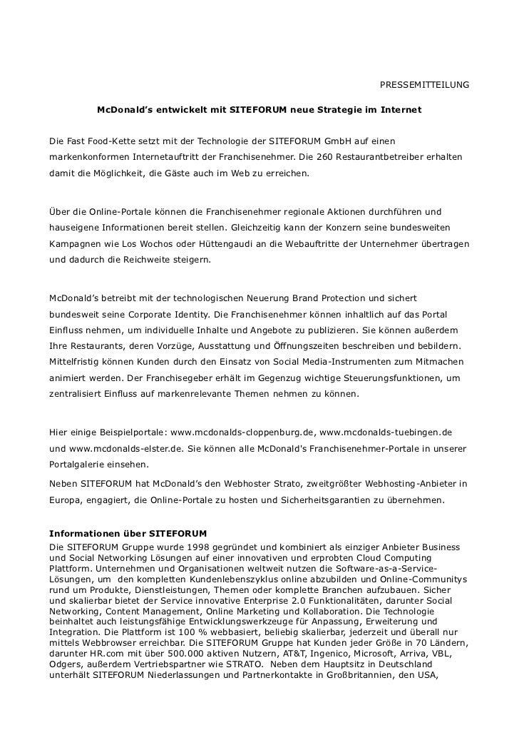 PRESSEMITTEILUNG           McDonald's entwickelt mit SITEFORUM neue Strategie im InternetDie Fast Food-Kette setzt mit der...