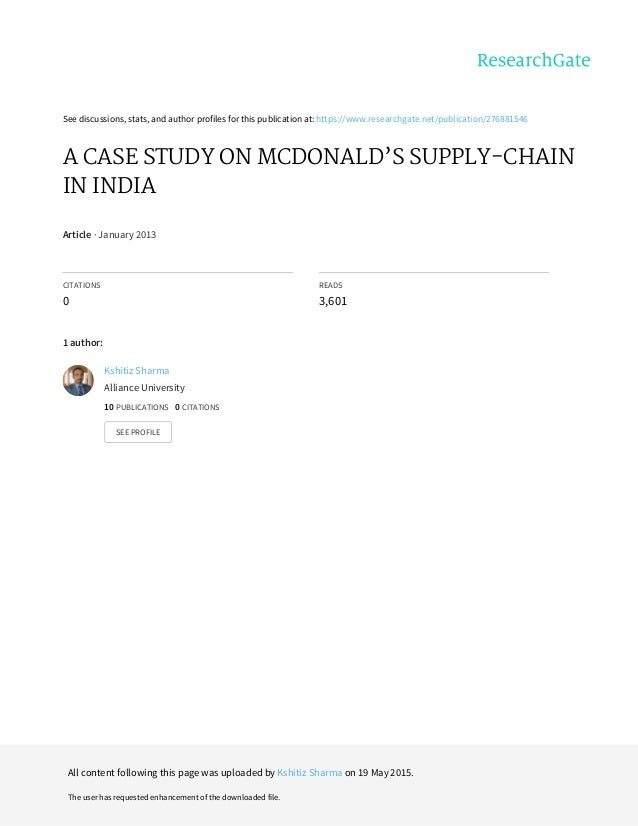 mac donalds supply chain in india Mcdonald's supply chain_in_india 1 mc donald's supply chain 1 2 agenda introduction history of mc donald's mc donald's in india mc donald's supply chain supply chain challenges supply chain strategy cold chain validation of cold.