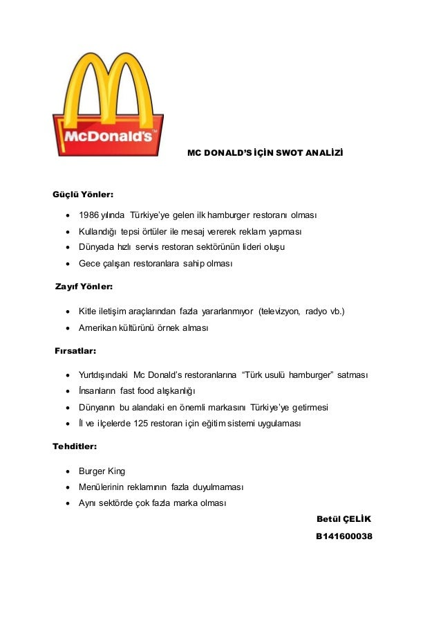 memo on mc donalds essay Mcdonald's essay  macdonald's case 1-the main issue facing mcdonalds is that the products of mcdonald's are one of many reasons behind overweight.