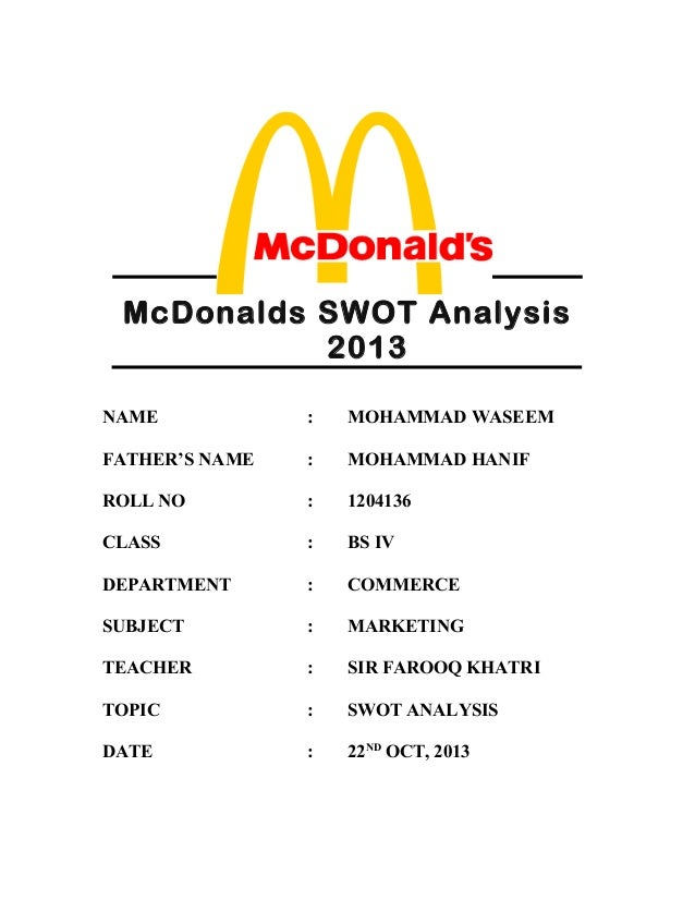 Mc Donalds Swot Analysis