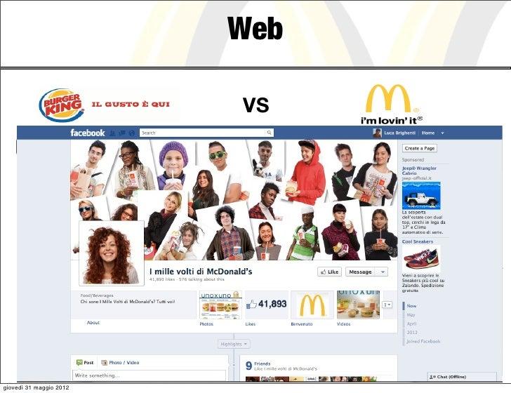 Web                                                 VS     Burger King: Semplicità, Gustoso, Whopper        McDonald's: Fa...
