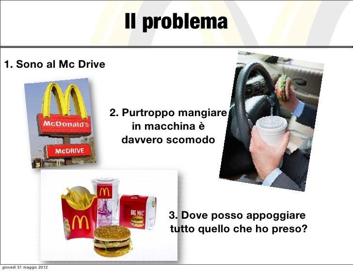 Il problema1. Sono al Mc Drive                         2. Purtroppo mangiare                              in macchina è   ...