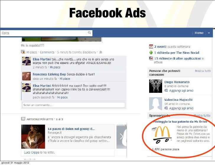 Facebook Adsgiovedì 31 maggio 2012