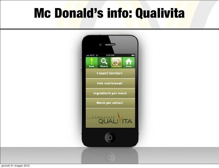 Mc Donald's info: Qualivitagiovedì 31 maggio 2012